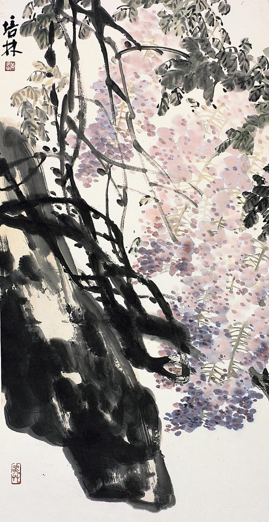 陈培林 紫藤 138×68cm;; 清夏爽风 姜宝林师生作品展(2009年8月1日-5