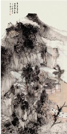 王贵华 青云山居图 136×68cm图片