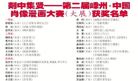 中国 漫画 嵊州/剡中集贤——第二届嵊州·中国 肖像漫画大赛(大展)获奖名单